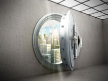 Concept of safe city Big safe door with city ingots High resolut Royalty Free Stock Images