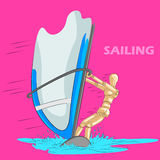 Concept of Sailing sports with wooden human mannequin. Vector illustration Royalty Free Stock Photos