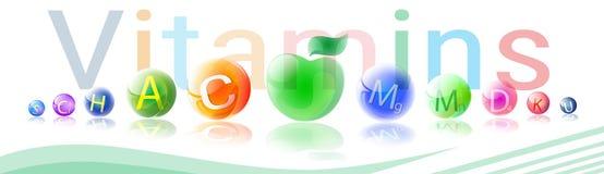 Concept sain d'élément de chimie de nutrition de la vie de bannière colorée nutritive de minerais de vitamines illustration libre de droits