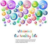 Concept sain d'élément de chimie de nutrition de la vie de bannière colorée nutritive de minerais de vitamines Photos stock