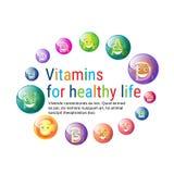Concept sain d'élément de chimie de nutrition de la vie de bannière colorée nutritive de minerais de vitamines Photo stock