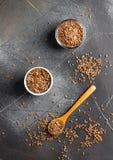 Concept sain d'aliment biologique de superfood de lin oléagineux de graines de lin photographie stock libre de droits
