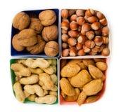 Concept sain d'aliment biologique Les noix se ferment vers le haut Vue supérieure images stock