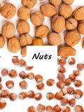 Concept sain d'aliment biologique Les noix se ferment vers le haut Vue supérieure image stock