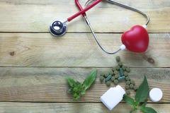 Concept sain de foyer, phytothérapies avec la feuille d'herbe et docteur d'oreille Photos stock