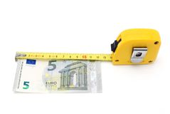 Concept of salary with money and meter Stock Images