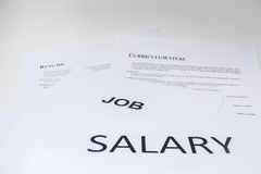 Concept of salary is necessary for resume Royalty Free Stock Photography