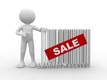 Concept of sale. 3d people - man, person with a bar code. Concept of sale Stock Photography