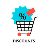 Concept of sale discounts. Modern flat design vector illustration, concept of sale discounts, for graphic and web design Royalty Free Stock Photography