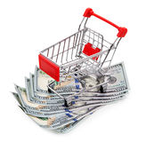 The concept of sales. Shopping cart and dollars isolated Stock Photo
