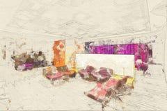 Concept, salle d'attente de salon de l'aéroport VIP de salon d'affaires de croquis Photos stock