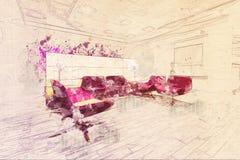 Concept, salle d'attente de salon de l'aéroport VIP de salon d'affaires de croquis Images stock