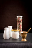 Concept of salt and pepper accessories Stock Photography