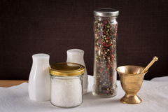 Concept of salt and pepper accessories Royalty Free Stock Photo