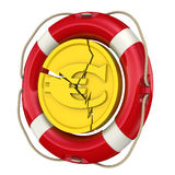 The concept of salvation of the European currency. Cracked coin with the symbol of the European currency in a lifebuoy. The concept of salvation financial Royalty Free Stock Photography