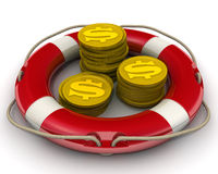 The concept of salvation financial savings. Coins with the symbol of the American dollar. Gold coins with the symbol of the American dollar in a lifebuoy. The Stock Image