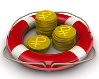 The concept of salvation financial savings. Coins with the symbol of the Russian ruble. Gold coins with the symbol of the Russian ruble in a lifebuoy. The Royalty Free Stock Photography