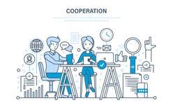Concept samenwerking, samenwerking, vennootschappen, groepswerk, verkoop, marketing, bespreking stock illustratie