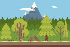 Concept sans couture de nature en bois et de montagne plat Photo libre de droits