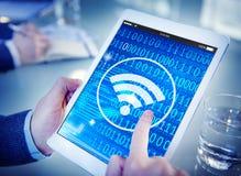 Concept sans fil de technologie de connexion réseau de signal de Wifi image libre de droits