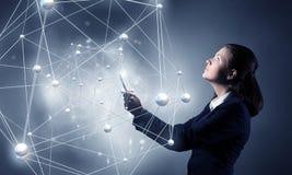 Concept sans fil global de connexion Media mélangé Images libres de droits