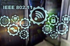 Concept sans fil IEEE 802 de transmission de donn?es 11 fond de serveur illustration libre de droits