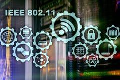 Concept sans fil IEEE 802 de transmission de donn?es 11 fond de serveur illustration stock