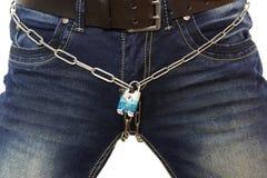 Concept sans sexe avec la ceinture et la jeune femme de chasteté Image libre de droits