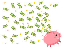 Concept of save money. Happy piggy bank with flying money. Flat design, vector illustration Stock Photography