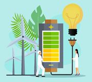 Concept of save the planet, save energy stock illustration