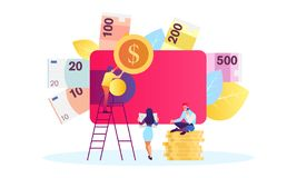 Concept save time, Money saving. Times is money. Business and management, time is money stock illustration