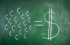 Concept of saving. Cent by cent concept of saving on a blackboard Royalty Free Stock Photos