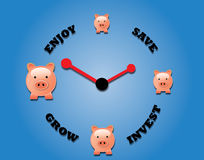 Concept of saving, investing and enjoying the grow. Concept of saving, investing, growing and enjoying using piggy bank and a clock symbol Stock Photography