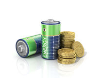 Concept of saving money if use solar energy. Royalty Free Stock Photography