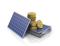Concept of saving money if use solar panel. Stock Image