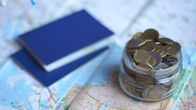 Concept of saving and planning vacations. Close up stock footage