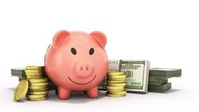 Concept of savings  money pig dollar bills in stacks 3d render o Stock Image