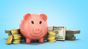 Concept of savings  money pig dollar bills in stacks 3d render o. N blue Royalty Free Stock Photo