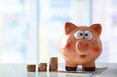 Concept savings with piggy bank and blue glass background Royalty Free Stock Photo