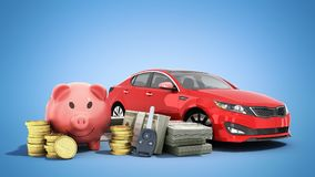 Concept of savings to buy a car money pig dollar bills in stacks. Car 3d render on Royalty Free Stock Images