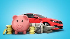 Concept of savings to buy a car money pig dollar bills in stacks. Car 3d render on blue Stock Photo