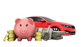 Concept of savings to buy a car money pig dollar bills in stacks. Car 3d render on white no shadow Stock Photo