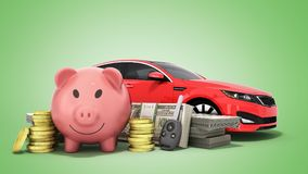 Concept of savings to buy a car money pig dollar bills in stacks. Car 3d render on green Stock Image