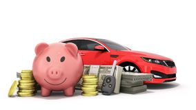 Concept of savings to buy a car money pig dollar bills in stacks. Car 3d render on white Royalty Free Stock Images