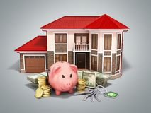 Concept of savings to buy a house money pig dollar bills in stac. Ks house 3d render on grey Royalty Free Stock Images