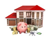 Concept of savings to buy a house money pig dollar bills in stac. Ks house 3d render on white no shadow Stock Photos