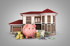 Concept of savings to buy a house money pig dollar bills in stac. Ks house 3d render on grey Stock Image