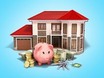 Concept of savings to buy a house money pig dollar bills in stac. Ks house 3d render on blue Stock Photo