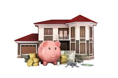 Concept of savings to buy a house money pig dollar bills in stac. Ks house 3d render on white no shadow Stock Photography