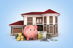 Concept of savings to buy a house money pig dollar bills in stac. Ks house 3d render on Stock Images